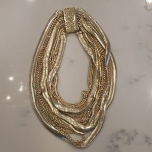Multiple gold chain necklace